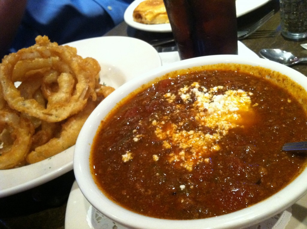 Chili and Onion rings at JR's Grill